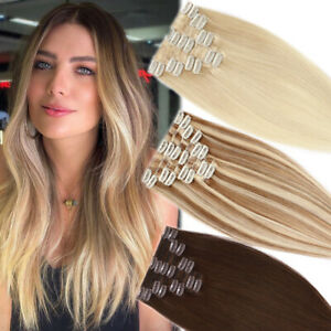 Clip In 100% Remy Human Hair Extensions Full Head Weft Volume Long Short US