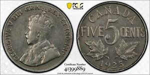 Canada, 1925 George V Five Cents, 5 Cents. PCGS XF 45. 201,921 Mintage.