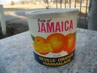Vintage Pride of Jamaica Brand Seville Orange Marmalade Empty Can Advertising