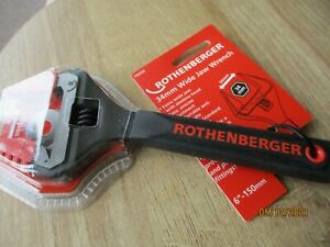 Rothenberger Adjustable Wide Jaw Wrench 6'' Soft Grip New with soft jaw covers.