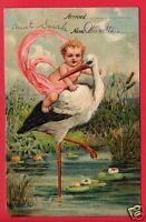 BABY ARRIVAL STORK  PFB  1909 WANETTA KNISLEY FORT WAYNE INDIANA IND POSTCARD