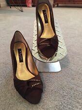 NINA Women's Becki Size 6-1/ M Chocolate Luster Satin Peep Toe Evening Pumps