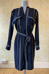 PHASE EIGHT navy white green striped long sleeved belted shirt dress UK 12