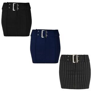 Ladies/Womens Mini Skirt With Waist Belt, Stretch Fabric 14 Inch Length KK18