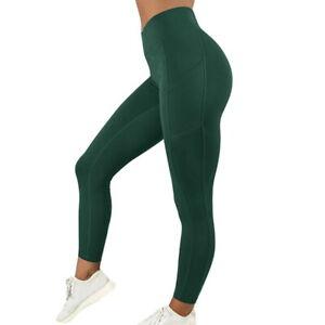 Women High Waist Gym Leggings Pocket Fitness Sports Running Train Yoga Pants US!