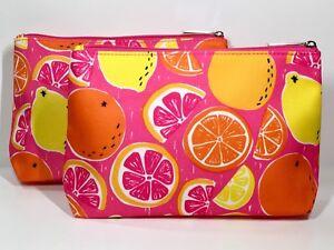 2pc Clinique Makeup Bags Lemon, Orange, Pink Grapefruit (lightly padded)