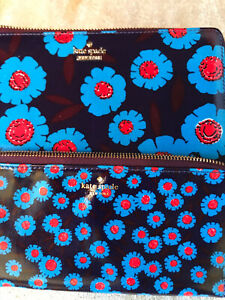 NWOT Kate Spade Cameron Tangier Floral Alfre Clutch/Wallet W Pouch Blue