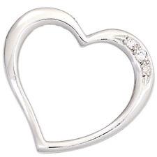 Anhänger Herz 585 Gold Weißgold 3 Diamanten Brillanten 0,03ct. Herzanhänger