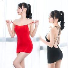Sexy Women Stripe Bandage Micro Mini Dress Ice Silk Sheer Tight Pencil Bodycon