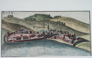 ca 1690 RARE ORIGINAL MAP HUNGARY WEITZEN VAC near Budapest - city wiev