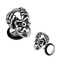 PAIR STEEL APE SKULL FAKE EAR PLUGS FAUX CHEATER 2 EARRINGS PIERCINGS