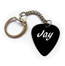 JAY name phrase guitar pick plectrum keychain key ring white print black Pick