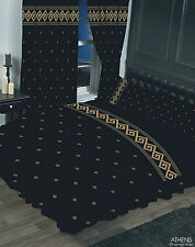 DOUBLE BED DUVET COVER SET ATHENS GREEK KEY BLACK METALLIC GOLD BORDER ELEGANT