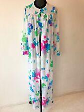 Vintage 1960s Miss Elaine Marc Signature Multi Floral Robe Nylon size S USA DS17