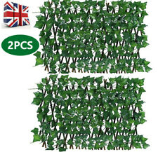 More details for 2x garden screening expanding trellis fence privacy screen artificial ivy leaves