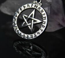 Rune Alphabet pentacle pentagram Wiccan Necklace Charm Pendant Adjustable cord