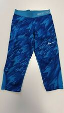 HH707 GIRLS NIKE PRO BLUE PATTERNED 3/4 FITTED SPORTS BOTTOMS UK M W24 L16.5