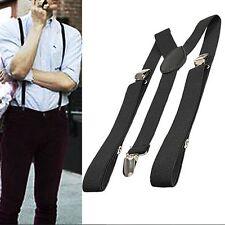 Black Elastic Brace Suspender Y Back Neon Clip-on Belt for Overall Adult UK