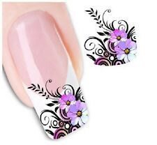 Nail Art Sticker Water Decals Transfer Stickers Pink Purple Flowers (DX1554)