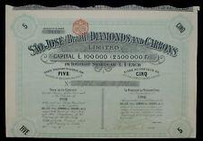 Brazil Sao José Diamonds And Carbons 5 Shares to Bearer 1903 + Kupons