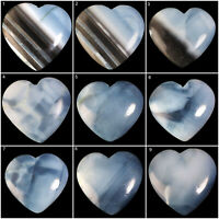 Natural Blue Opal Top Quality Loose Heart Cabochon Huge Pendant Size Gemstones