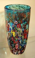 "New 12"" Hand Blown Glass Art Vase Blue Italian Millefiori Multicolor Decorative"