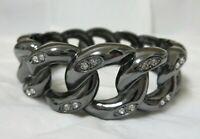 Black & Rhinestone Premier Clamper Bracelet