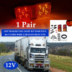 LED TRAILER TAIL LIGHT KIT PAIR PLUG, 8m 5 CORE WIRE CARAVAN BOAT UTE Universal