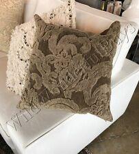 "Pottery Barn Natalia Pillow Cover Dark Sage Green 22"" Silk Jacquard New"