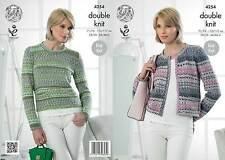 King Cole 4254 Knitting Pattern Sweater and Cardigan in King Cole Drifter DK