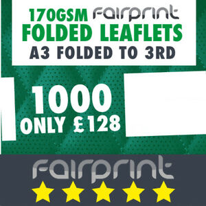 1000 Folded Leaflet and Menus / A3 to 3rd / 170gsm Gloss