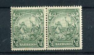 Barbados KGVI 1938-47 halfpence green SG248a MH R10/6 recut line
