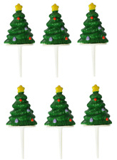 6 x mini tree  Christmas Cake Decorations yule log cupcake toppers