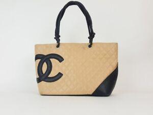 Chanel Cambon Beige Black Lambs Leather Large Shoulder Tote Bag Handbag