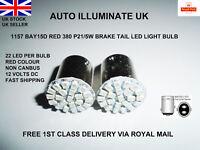 2x 1157 BAY15D 22 SMD LED 380 P21/5W RED CAR STOP TAIL SIDE BRAKE LIGHT BULB 12V