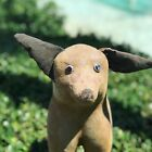 Big Antique pulling Toy flocked Dog on Wheels Stuffed Ears and Tail. Rare!!!