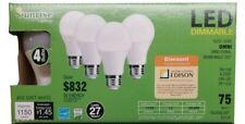 4 pack A19 LED 12W 2700K Warm White Indoor/Outdoor Flood Light Bulbs 75 Watt