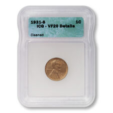 USA Lincoln Wheat Cent 1c 1931 S ICG VF20 Details- Cleaned Key Date Penny