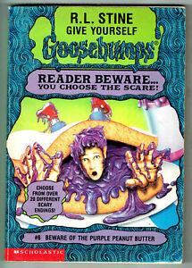 GY, GOOSEBUMPS, BEWARE OF THE PURPLE PEANUT BUTTER #6, 1st edition USA, VGC.