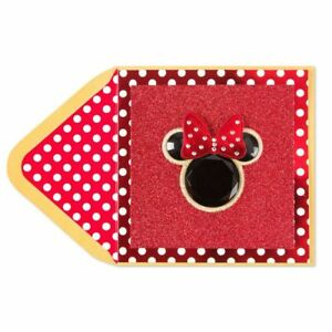 Papyrus Blank card - 3D Acrylic Minnie Mouse + HUGE rhinestone Bow + Red Glitter