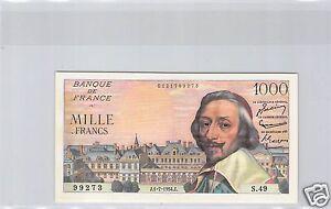FRANCE 1 000 FRANCS RICHELIEU 1.7.1954 ALPHABET S.49 QUALITE