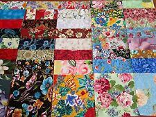 40 x 5' CHARM SQUARES LARGE BLOOMS Blue 100% Cotton Fabric Sewing Material No.15