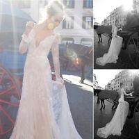 V Neck Lace Long Sleeves Bridal Dress 2015 New White Ivory Wedding Gown Custom