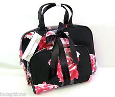 Set/2 Adrienne Vittadini Cosmetic Bag Set Roses Black Red Pink  - NEW