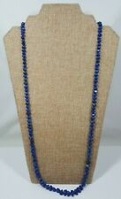 """Blue Lapis Lazuli Nugget Necklace 32"""" Long Strand Threaded & Knotted"""