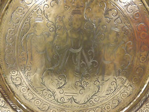 Antique Indian Brass Charger/Wall Plaque Engraved  With Deities
