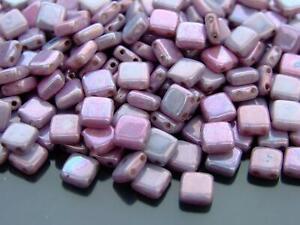 25pcs CzechMates Tile Beads 6mm Square Two Hole Luster Metallic Amethyst LE02010