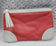 Benefit cosmetics bag coral and cream with tassle Gently used