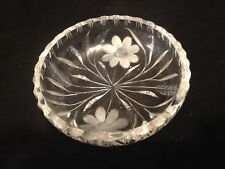 "Vintage Crystal 5"" Dish~Embossed Etched~Floral / Geometric Design~Heavy Glass"