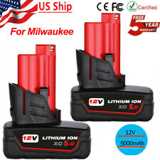 2xfor Milwaukee M12 12 Volt XC 6.0 Extended Capacity Battery 48-11-2460 5.0AH